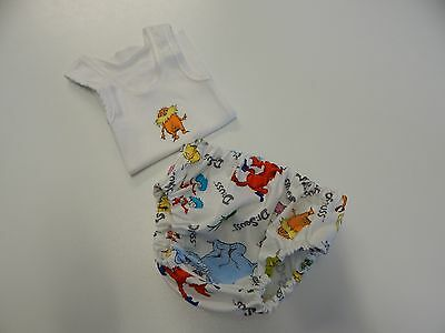 Nappy Cover and Singlet  Dr Seuss Characters  - Newborn Size