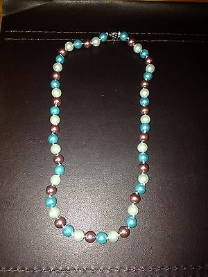 Stunning 8mm south sea Multicolor  pearl necklace 18""