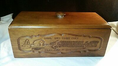 """Wooden Bread Box """" Give Us This Day Our Daily Bread """"  Vintage ?"""