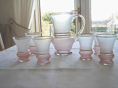 Vintage Art Deco Pink/peach  Frosted Glass Jug And 6 Lemonade Glasses