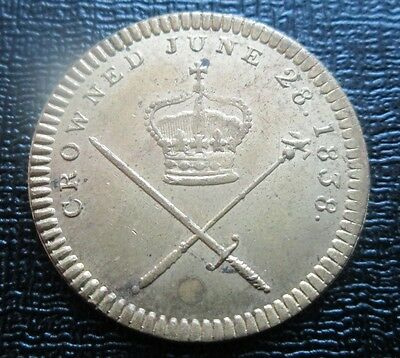 1838 Her Majesty Queen Victoria - Crowned June 28 Coronation Token, by Kettle