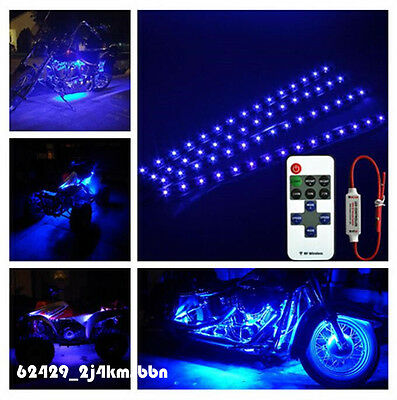 "Wireless Remote + 4pcs Motorcycle Blue 15 LED Flexible Light Strip 12"" For Honda"