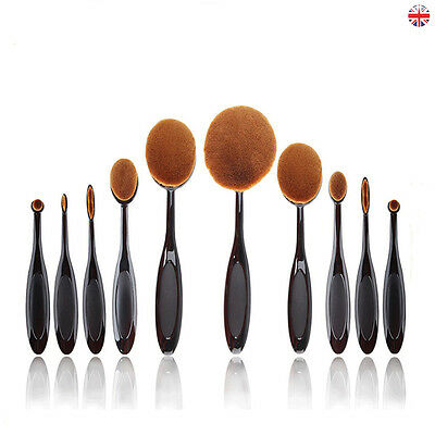 Hot 10pcs Toothbrush Oval Makeup Brushes Set Comestic Foundation Contour Tool