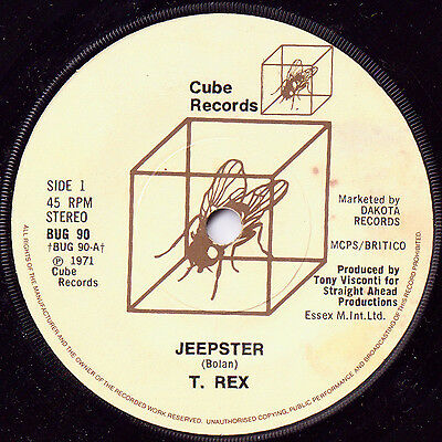 """T. Rex Marc Bolan – Jeepster c/w Get It On 7"""" Glam Rock Cube Records BUG 90 80s"""