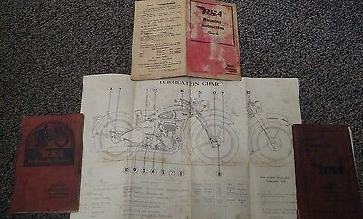 BSA Motorcycle Manual Model A7 500CC & RIDERS INSTRUCTION BOOK CARD, LUBE CHART