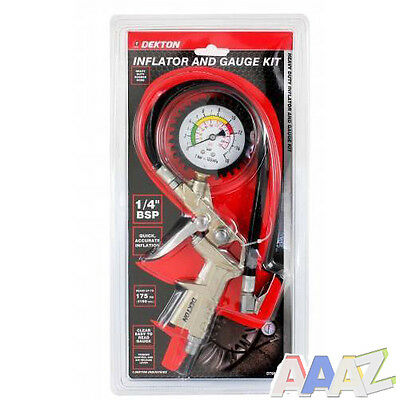 """Tyre Inflator And Gauge Kit For Compressor Air Tool Fitting 1/4"""" Bsp"""