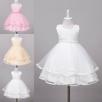 Flower Girl Pearls Dress Princess Pageant Wedding Bridesmaid for 2-8Y Kids Baby