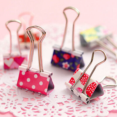 6X Flower Printed Metal Binder Clips Notes Paper Clip Office Tool 19 X 37mm EPCA