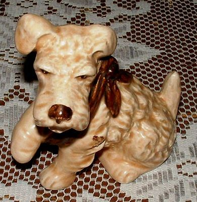 GENUINE VINTAGE SYLVAC TERRIER DOG FIGURINE WITH PAW IN A SLING No.1433