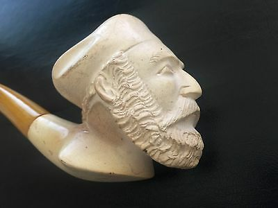 Late 19th Century Amber Stem Meerschaum Pipe Of A Bearded Man
