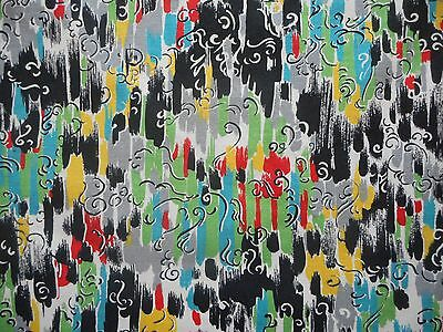 Pretty unused vintage 50's abstract paint effect cotton fabric - 1M lengths