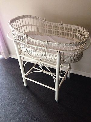Vintage White Cane Bassinet (Moses basket And Stand)