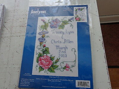 janlynn counted cross stich kit wedding floral 5x7inches