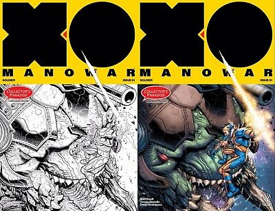 X-O MANOWAR #1 (2017) EXCLUSIVE COLOR & B/W Variant set: 8 XTRA Pages, 2 COMICS