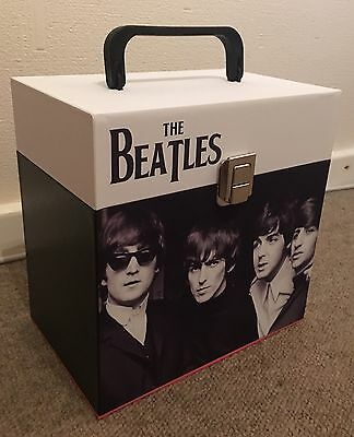 """The Beatles - wooden 7"""" Record Box/Case 45's holds 30-50 singles Wide design"""