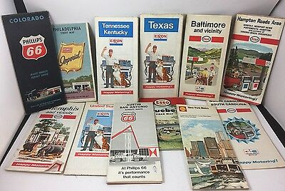 12 Vintage Gas Station Courtesy Maps Esso Exon Phillips 66 Shell Atlantic