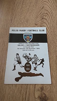 Kelso v Watsonians 1993 Rugby Union Programme
