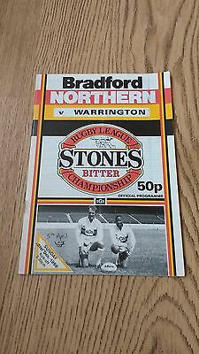 Bradford Northern v Warrington April 1987 Rugby League Programme