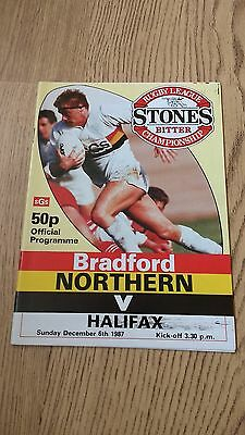 Bradford Northern v Halifax Dec 1987 Rugby League Programme