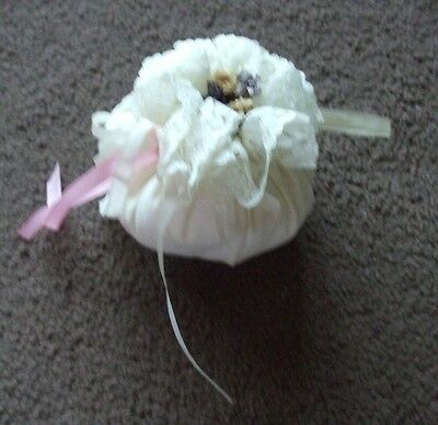 White Lacy Pot Pourri Filled Pom With Pink/white Ribbon And Dried Flower Centre