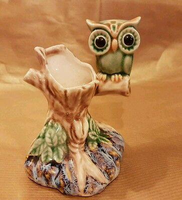 Vintage ceramic Owl on Tree Ornament