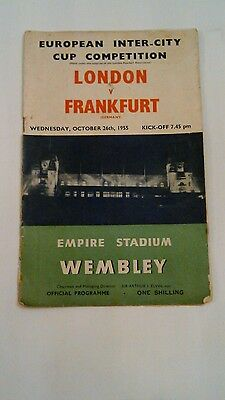 LONDON v FRANKFURT INTER CITY CUP COMPETITION PROGRAMME