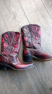 red leather cowboy boots sz 5