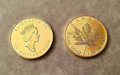 GOLD Canadian Maple Leaf 1 ounce coin .9999 purity 24 carat gold