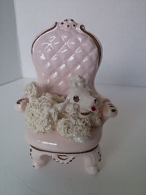 Vintage Spaghetti Poodle French Boudior Pink Chair 1950's Figurine Retro Kitsch