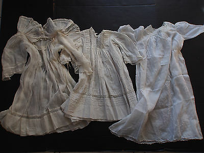 Lot 3 Antique Hand Embroidery Organdy Wings Ruffle Christening Baby Doll Gowns