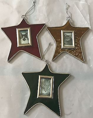 Stained Glass Christmas Ornaments 3 Stars Photo Holders Metal Frames