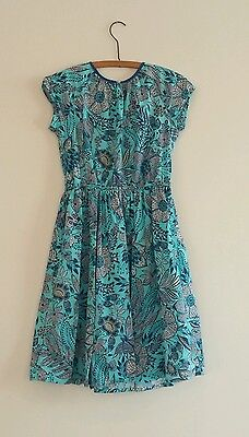 Lands End Girls Size 12 Dress Blue Print Cotton Party Tea Short Sleeve Flower