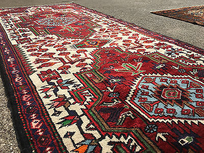 3x10 HAND KNOTTED PERSIAN IRAN HERIZ RUG RUNNER WOVEN WOOL MADE 3 x 10 ANTIQUE 4