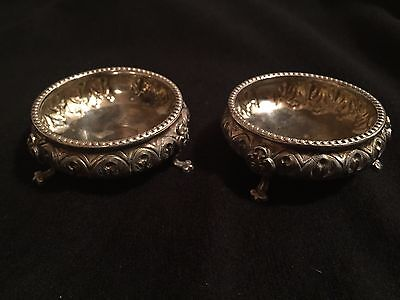 A Pair Of Antique Silver Salt Dishes