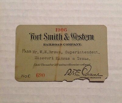 Fort Smith Western Railroad Company Pass 1906