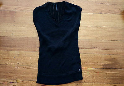 Guess Womens Black Knit Short Sleeve V-Neck Top Size XS