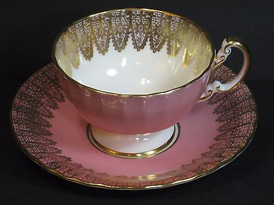 Aynsley Bone China Gold Glitter Lacy Pink Footed Tea Cup & Saucer England, Rare!