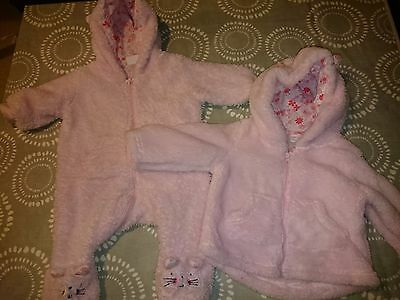 Tesco Pink baby fluffy pramsuit (up to 3 mths) &  zip up hoodie (3-6 mths)