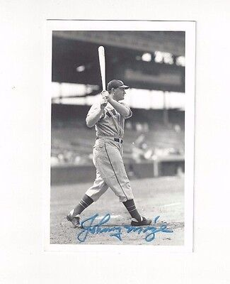 Johnny Mize Autographed Baseball Postcard Photo New York Giants George Brace