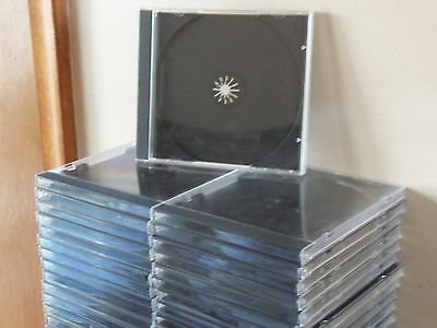 41 Clear Plastic w/Black Inserts CD/DVD Cases Safe--Dust Free Storage--Used