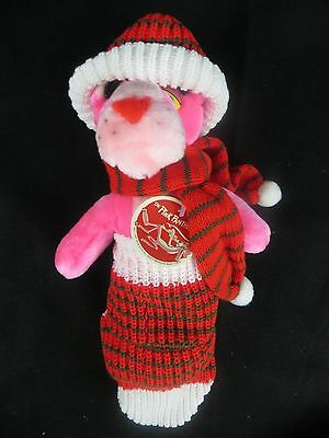 Vintage 1980 - Pink Panther Christmas Plush Toy With Tags - Pink Panther Santa