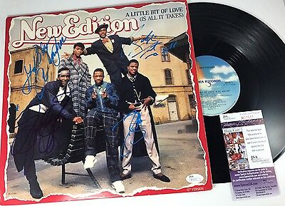NEW EDITION signed VINYL RECORD Single A LITTLE BIT OF LOVE New Jack Swing JSA