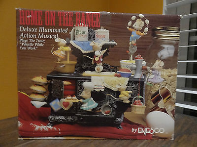 VIDEO Enesco Home On Range Mice Cook Stove Animated Music Whistle While You Work