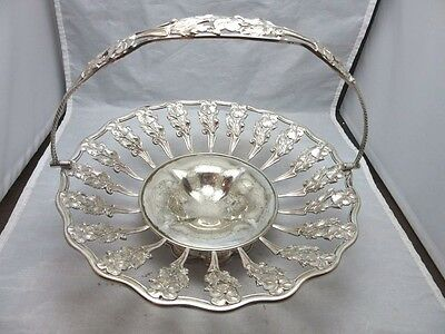 Silverplate wedding basket. Stamped, etched  flowers