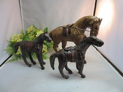 Set of 3 vtg leather wrapped horse figurines