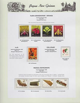 1969 PNG PAPUA NEW GUINEA Flora Orchids I.L.O. Coil Musical STAMP SET K-420