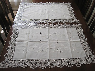 Pair Of Vintage White Cotton Pillow Shams With Bobbin Lace Edging And Embroidery