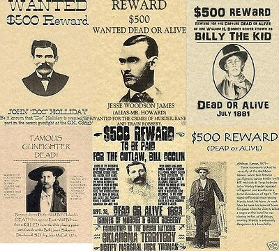 6 Old West Wanted Posters Outlaw Jesses James Billy The Kid Doc Holliday Western