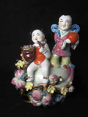 Vintage Chinese Figure Porcelain Luck Fortune Peach Fruit Children Flowers 11in.