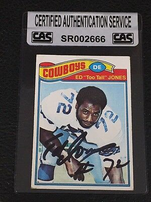 Ed Too Tall Jones 1977 Topps Signed Autographed Card #314 Cowboys Cas Authentic